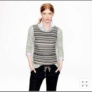 J Crew Textured Stripe Sweater in Gray Large